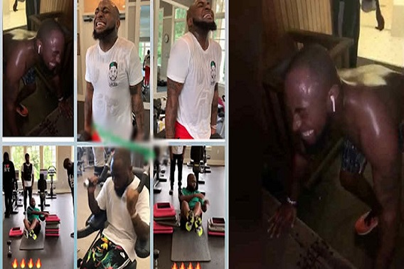 Davido struggles to lose his Belly Fat, trains Hard (video)