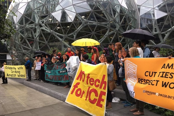 Protesters petition Amazon to stop selling technology to ICE