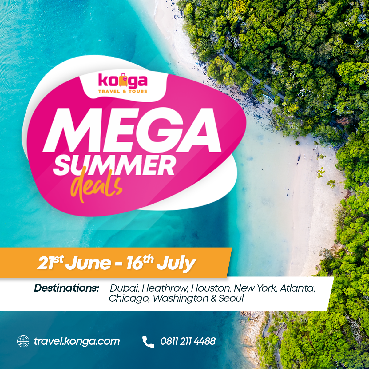 Konga travels dangles attractive summer packages, visa, passport services for travellers